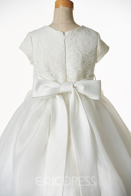 Ericdress Cute Jewel Short Sleeves Lace Ball Gown Flower Girl Dress