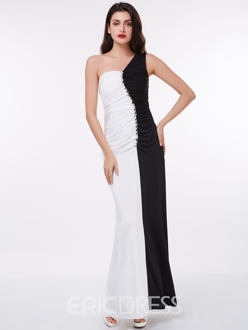 Ericdress Black and White Ankle Length Evening Dress With One Shoulder