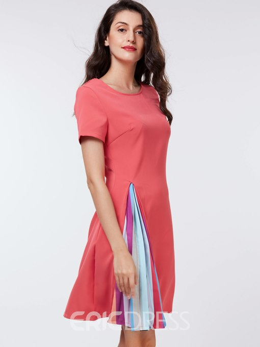 Ericdress Pleated Patchwork Asymmetric A Line Dress