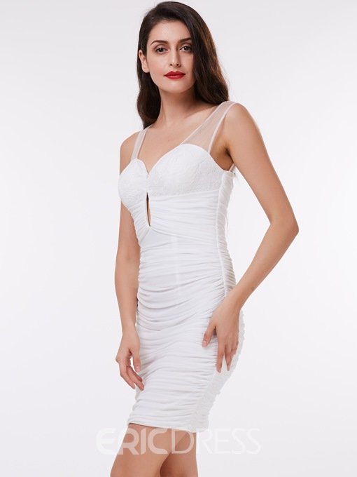 Ericdress Illusion Neck Ruched Sheath Evening Dress