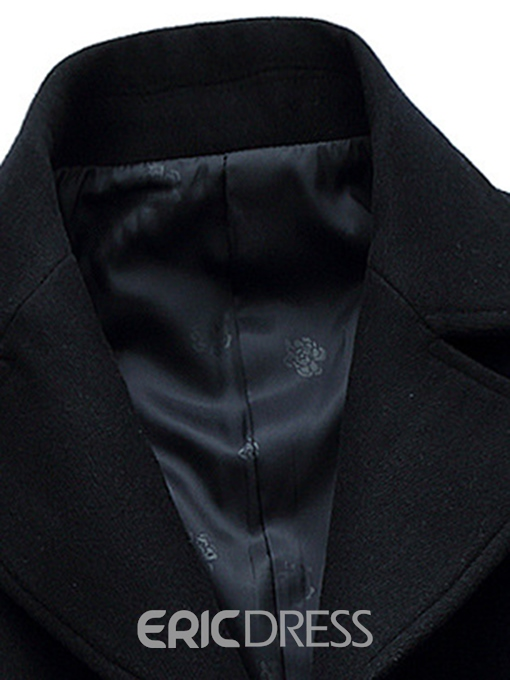 Ericdress Single-Breasted Mid-Length Slim Men's Wool Coat