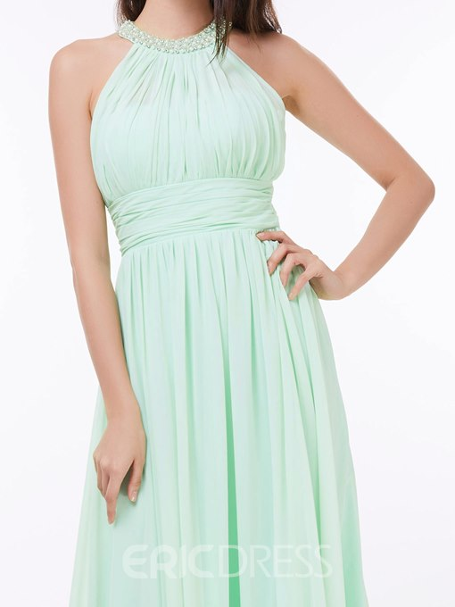 Ericdress Pearls Halter Ruched Long Prom Dress