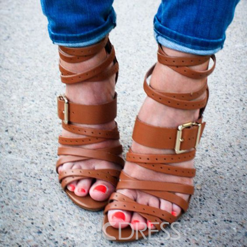 Ericdress Brown Strappy Stiletto Sandals