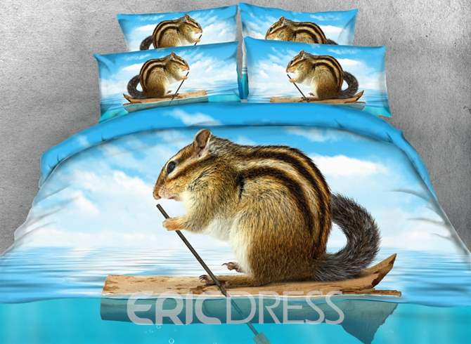 Chipmunk in Canoe Printed Cotton 4-Piece 3D Blue Bedding Sets/Duvet Covers