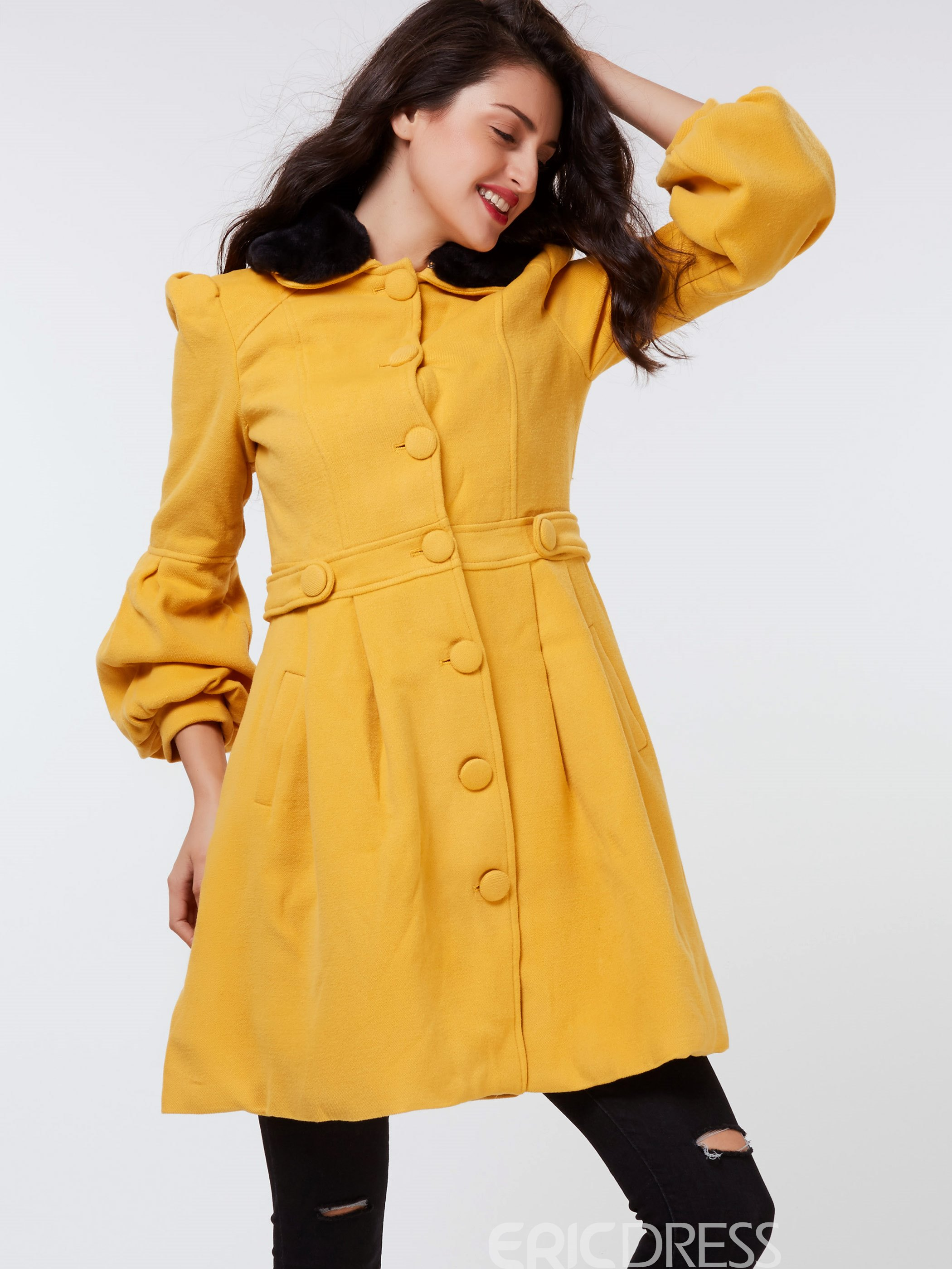 Ericdress Solid Color Single-Breasted Trumpet Slim Coat