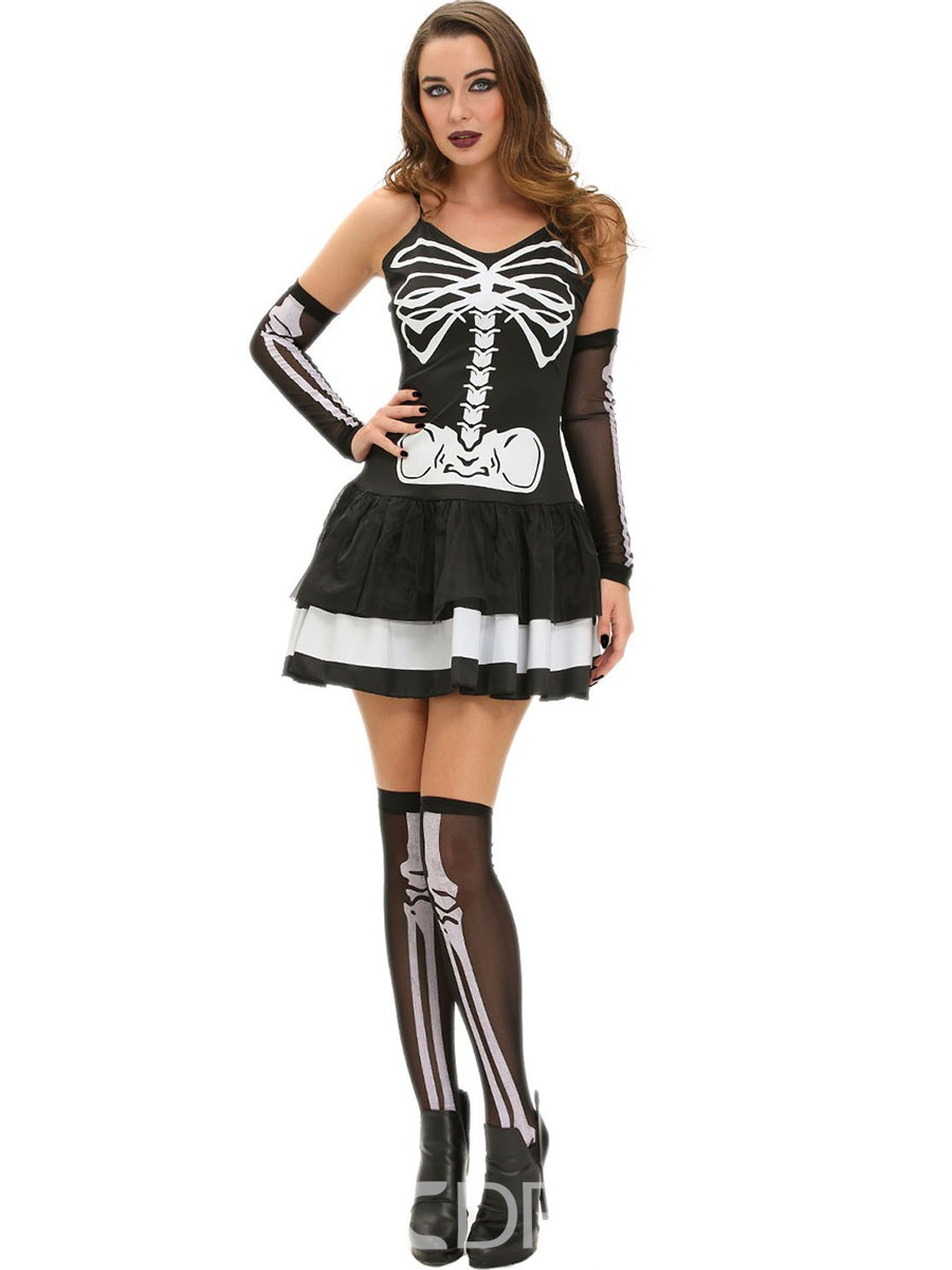 Ericdress Color Block Pleated Bone Print Halloween Costume