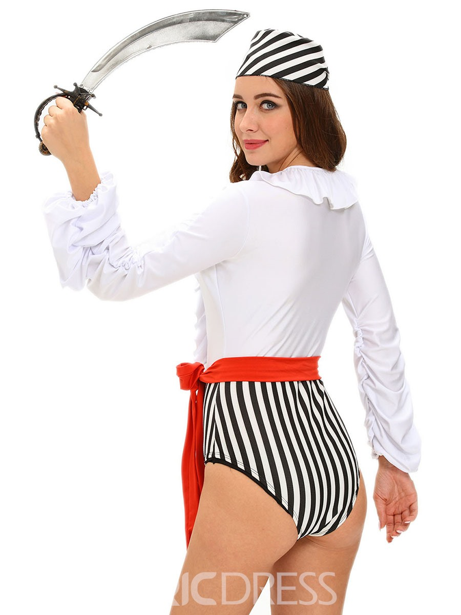 Ericdress Patchwork Stripe Hollow Sexy Pirate Cosplay Halloween Costume