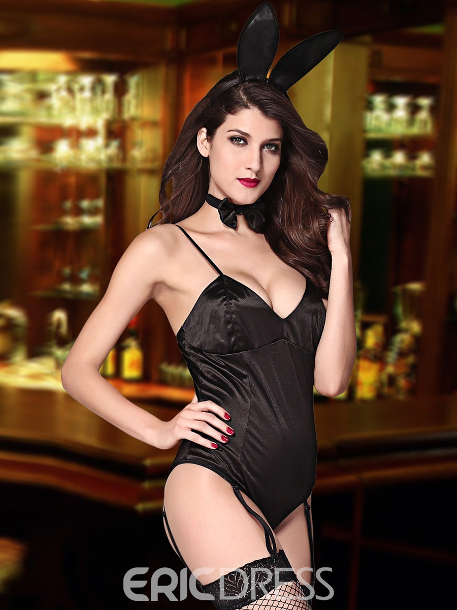 Ericdress Black Spaghetti Strap Sexy Bunny Girl Cosplay Costume