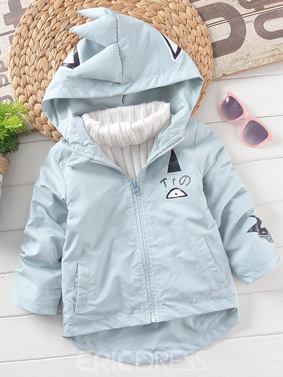Ericdress Cute Dinosaur Hooded Girls Trench Coat