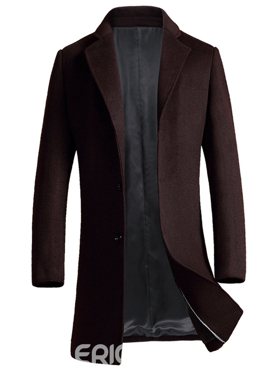 Ericdress Mid-Length Quality Zip Vogue Slim Men's Wool Coat