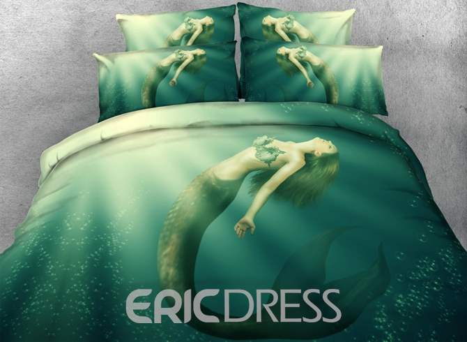 Mermaid in the Sea Printed Cotton 3D 4-Piece Bedding Sets/Duvet Covers