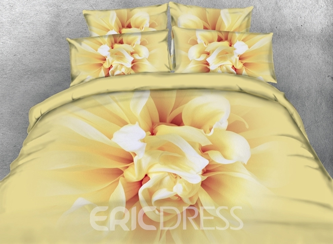 Vivilinen 3D Blooming Flower Printed Cotton 4-Piece Bedding Sets/Duvet Covers