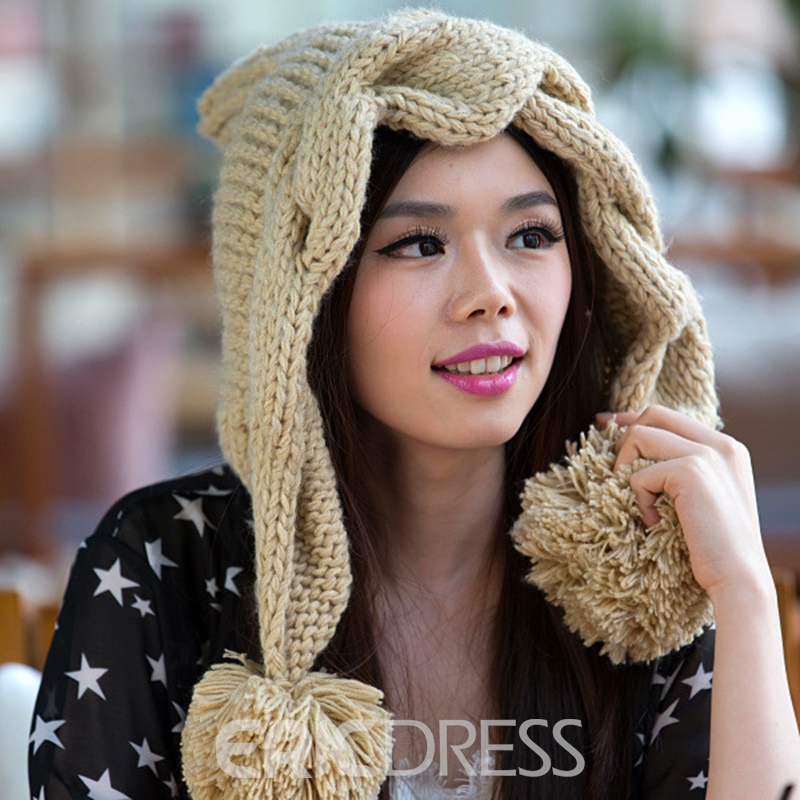 Ericdress Solid Color Hand Twist Crochet Hat