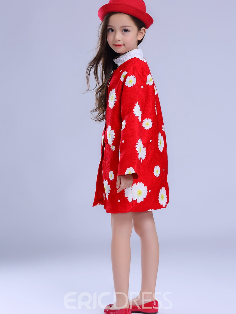 Ericdress Floral Print Girls Trench Coat