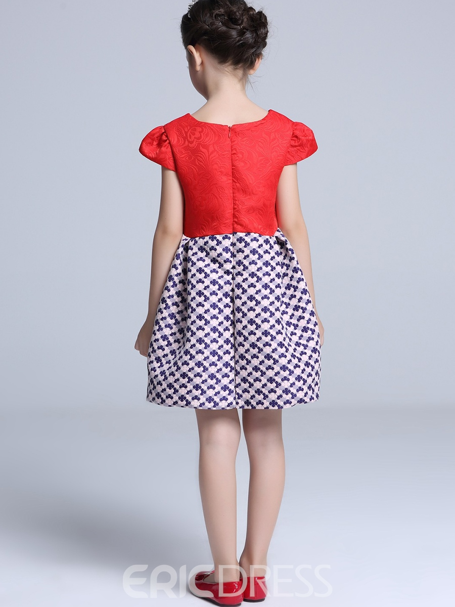 Ericdress Bow Plaid Patchwork Sleeveless Girls Dress