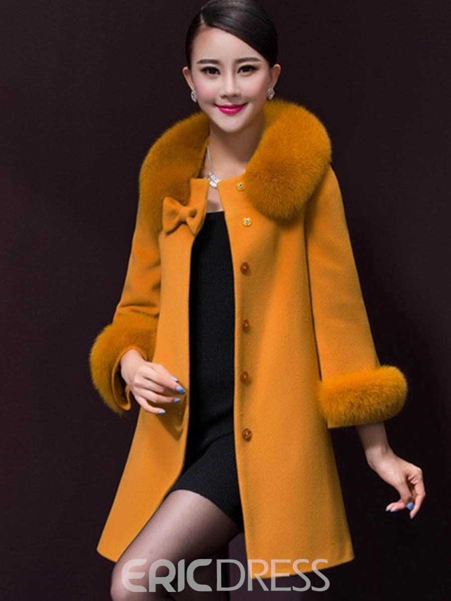 Ericdress Solid Color Faux Fur Collar Elegant Coat