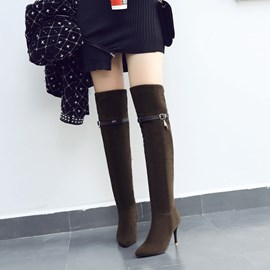 Ericdress Best-Selling Pointed Toe Stiletto Heel Thigh High Boots