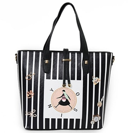 Ericdress Girl Clock Stripe Print Tote Bag