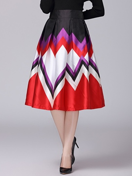 Ericdress Geometric Pattern A-Line Skirt