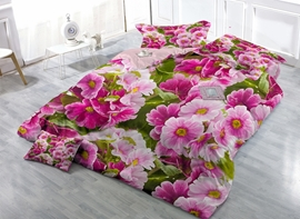 Likable Pink Poppy Print Satin Drill 4-Piece Duvet Cover Sets