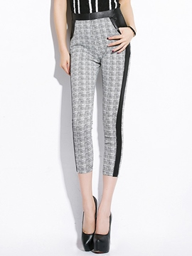 Ericdress PU Patchwork Plaid Leggings Pants