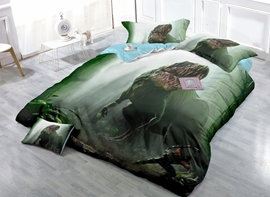 Chic Dinosaur Print Satin Drill 4-Piece Duvet Cover Sets