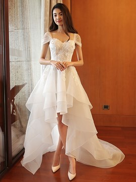 Ericdress Cap Sleeves Appliques High Low Beach Wedding Dress