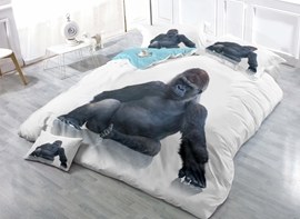 Black Orangutan Print Satin Drill 4-Piece Duvet Cover Sets