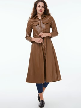 Ericdress Slim Wave Cut Solid Color Trench Coat