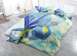 Iris Tectorum Print Satin Drill 4-Piece Duvet Cover Sets
