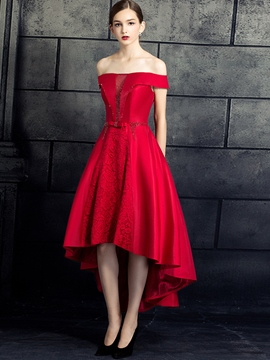 Ericdress Off-the-Shoulder Lace Asymmetry A Line Prom Dress With Beaded Bowknot