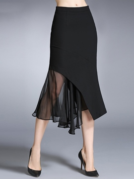 Ericdress Asymmetric Chiffon Patchwork Column Skirt