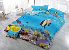 Innovative Aquarium Print Satin Drill 4-Piece Duvet Cover Sets
