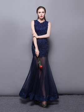 EricdressTrumpet Scoop Neck Applique Beaded Floor Length Evening Dress