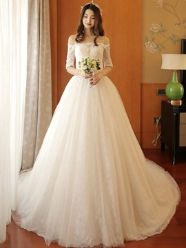 Ericdress Elegant Appliques Off The Shoulder Wedding Dress With Sleeves