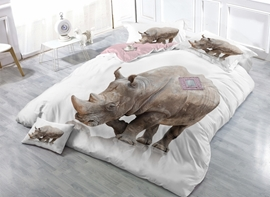 White Rhinoceros Digital Printing Satin Drill 4-Piece Duvet Cover Sets