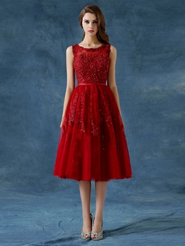 Ericdress A-Line Scoop Appliques Beading Button Tea-Length Prom Dress