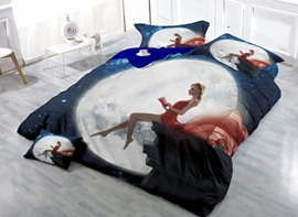 Amazing Girl and the Moon Print Satin Drill 4-Piece Duvet Cover Sets