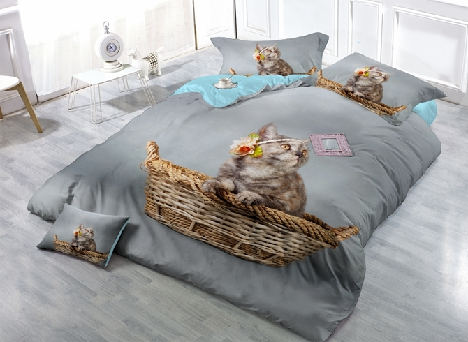 Lovely Little Kitty Print Satin Drill 4-Piece Duvet Cover Sets