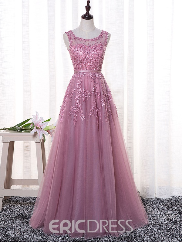 Ericdress A-Line Scoop Appliques Pearls Sashes Floor-Length Evening Dress