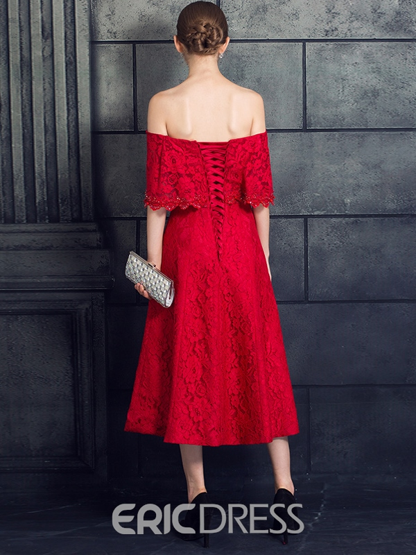 Ericdress Vintage A-Line Off-the-Shoulder Bowknot Lace Evening Dress