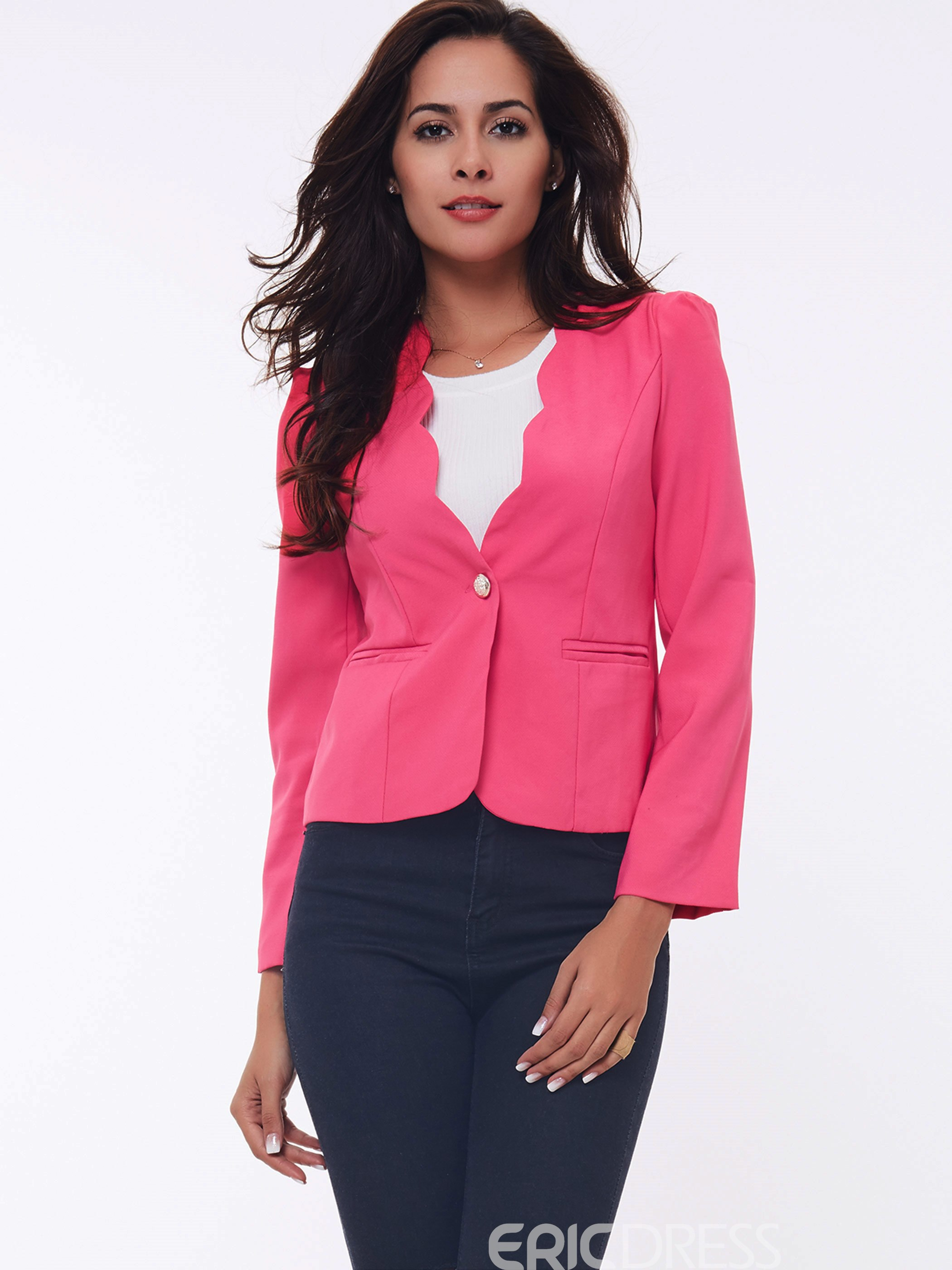 Ericdress Solid Color V-Neck One-Button Slim Blazer