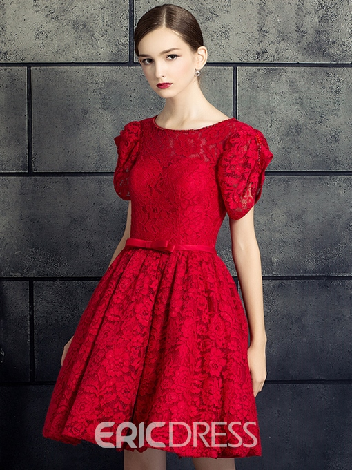 Ericdress A-Line Scoop Short Sleeves Bowknot Lace Sashes Short Cocktail Dress
