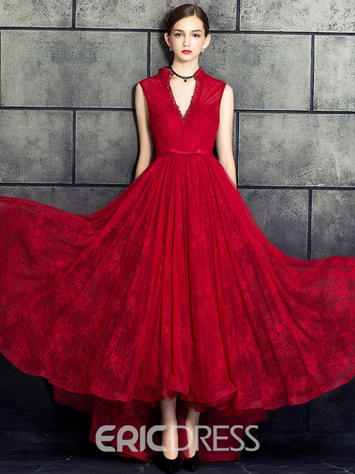 Ericdress Vintage A-Line Beading Lace Pearls High Low Evening Dress