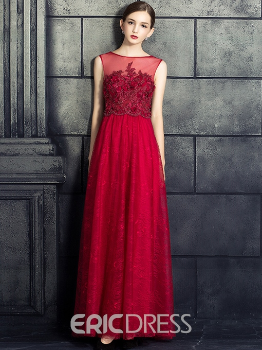 Ericdress A-Line Bateau Beading Lace Pearls Floor-Length Evening Dress