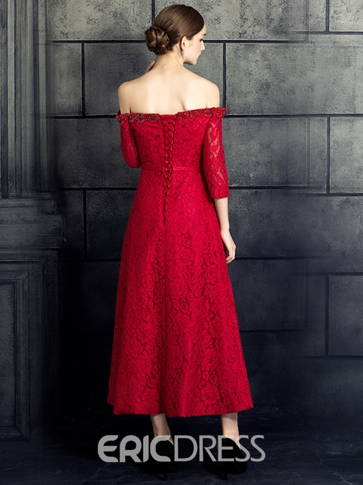 Ericdress A-Line Off-the-Shoulder 3/4 Length Sleeves Beading Bowknot Lace Evening Dress