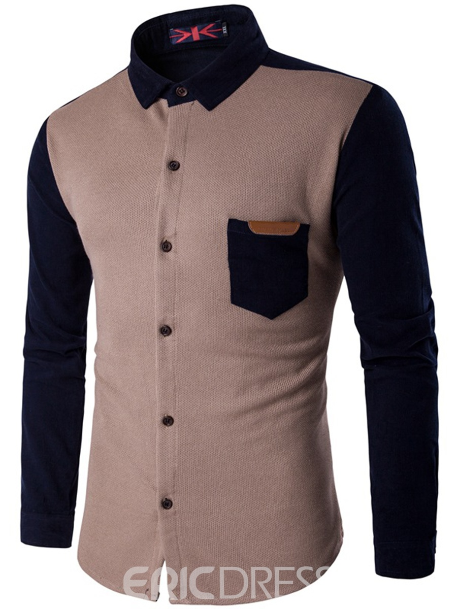 Ericdress Color Block Patchwork Casual Slim Men's Shirt