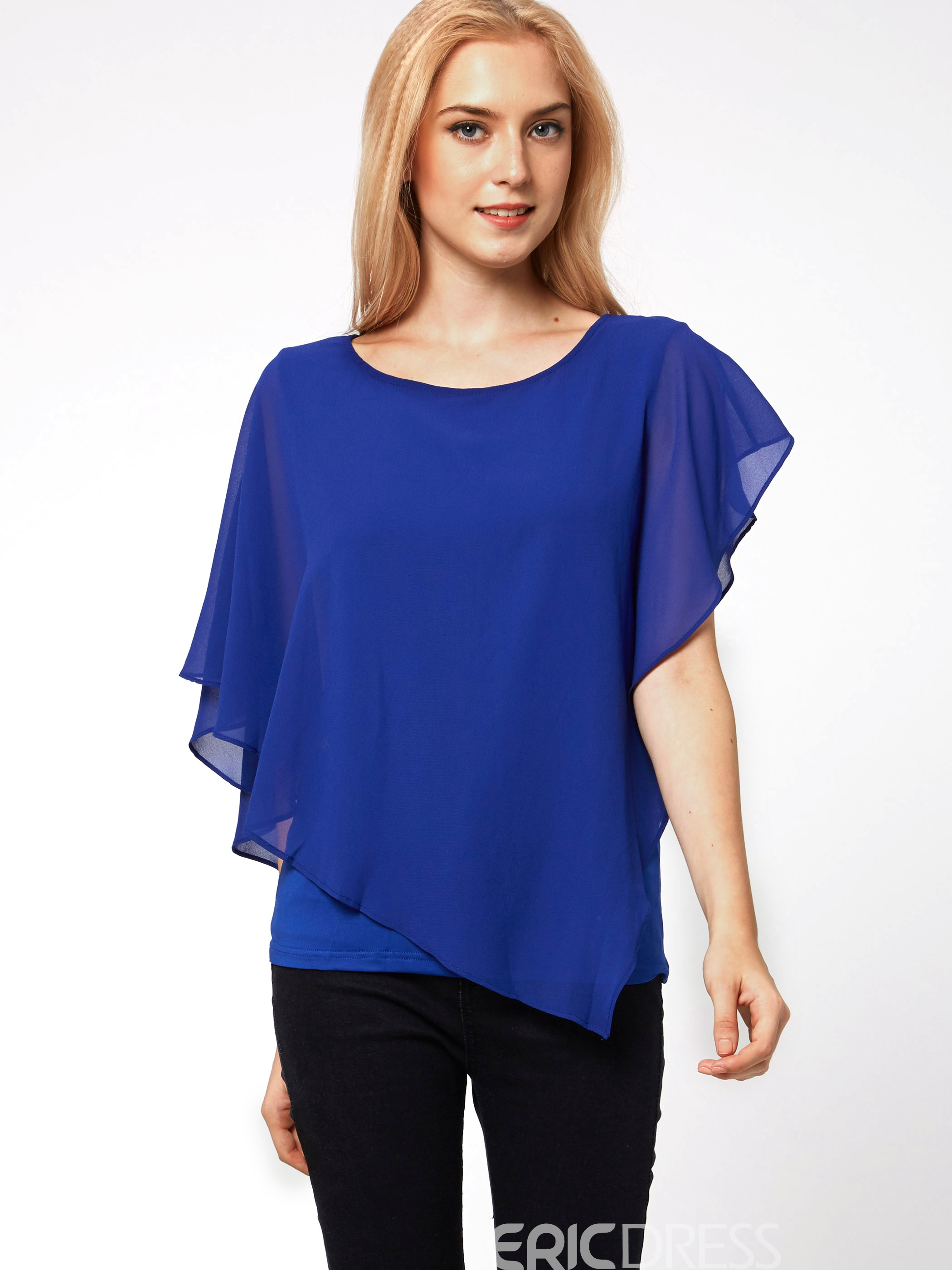 Ericdress Falbala Hem Pure Color Chiffon Blouse