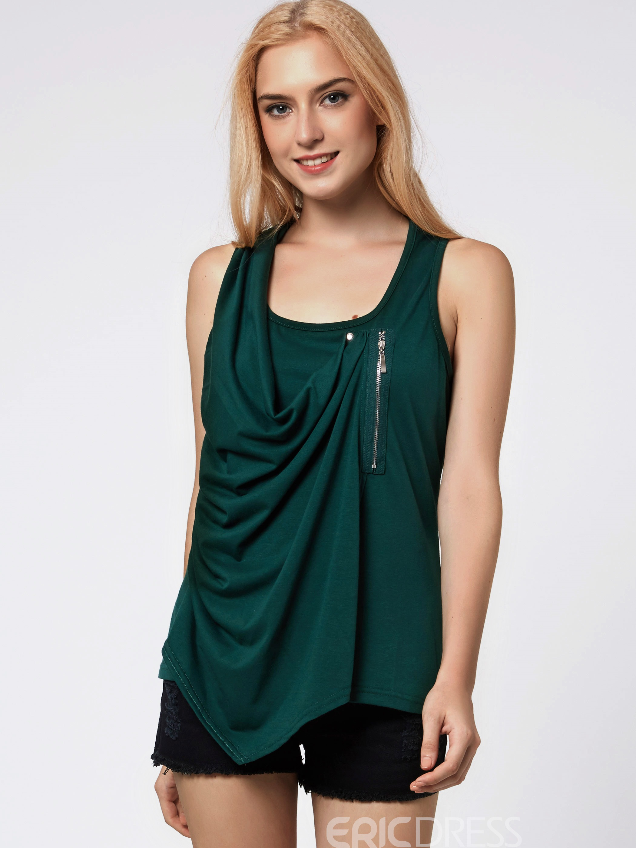 Ericdress Loose Pleated Zipper Casual T-Shirt