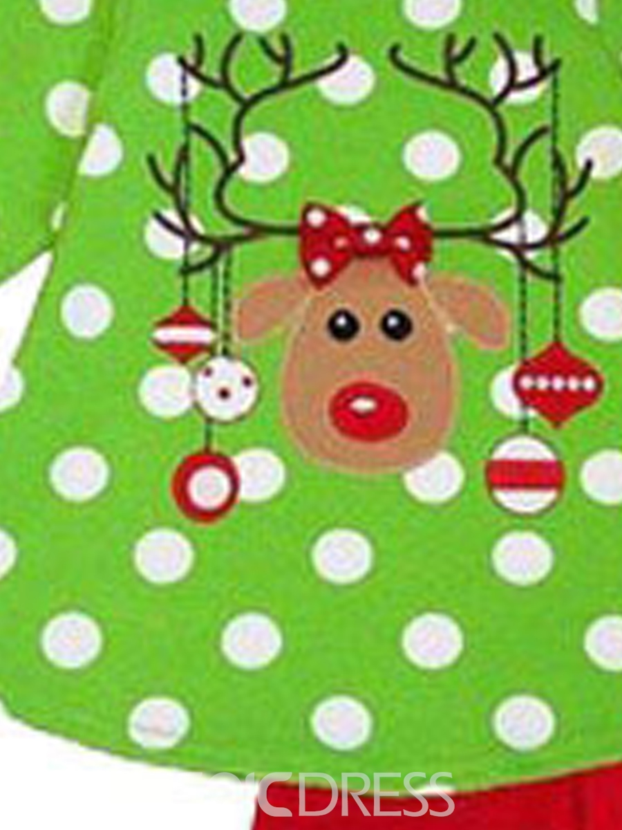 Ericdress Reindeer Christmas Polka T-Shirt Pants Girls Outfit